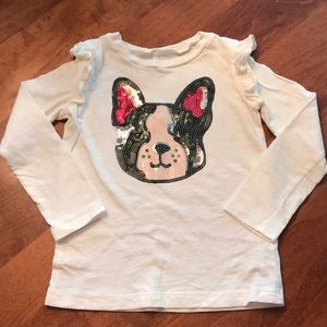 Carter's Kid Sequin Frenchie Dog Shirt